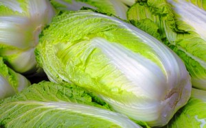 Heap of Chinese cabbages on a market stand-detail
